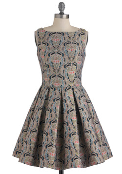 classic stunner dress in brocade, modcloth