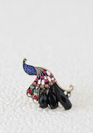 gilded plumage peacock ring, ruche