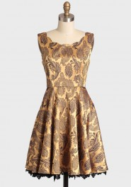 golden girl scalloped brocade dress, ruche