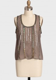 jordana sequins sheer top, ruche