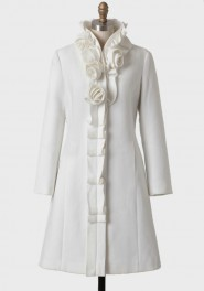 poset rose applique coat, ruche