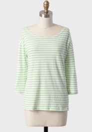 cast away striped top in green