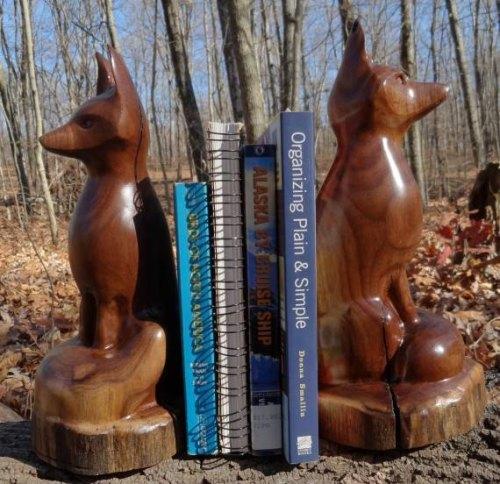 fox bookends, jonscarvings