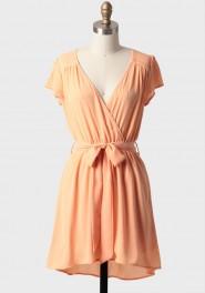 apricot shortcake sash belt dress, ruche