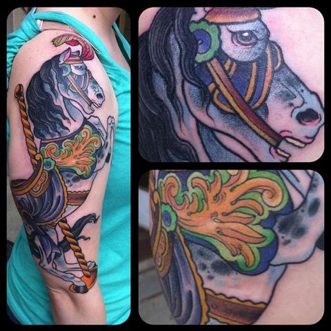 carousel horse tat 1